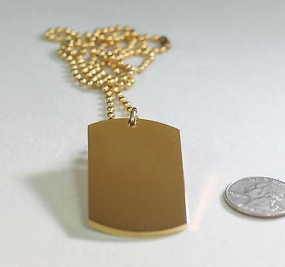 GOLD IPG PLATED PENDANT  DOG TAG SOLID  STAINLESS STEEL NECKLACE BALL CHAIN