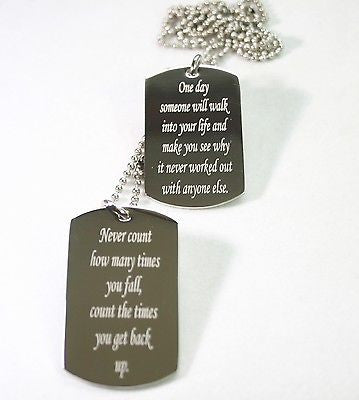 MOTIVATIONAL DOG TAGS STAINLESS  BELIEVE, POSITIVE, MILITARY STYLE  NECKLACE - Samstagsandmore