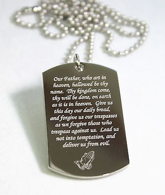 LORD'S PRAYER RELIGIOUS PRAYER DOG TAG NECKLACE STAINLESS STEEL