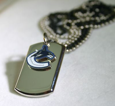 NHL VANCOUVER CANUCKS STAINLESS STEEL  NECKLACE DOGTAG PENDANT ENGRAVE