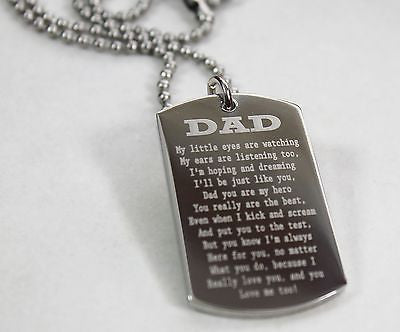 DAD, MOM, SISTER, BROTHER MESSAGE SPECIAL NECKLACE POEM DOG TAG STAINLESS STEEL - Samstagsandmore