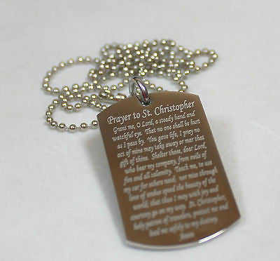 ST. CHRISTOPHER PRAYER RELIGION  DOG TAG NECKLACE STAINLESS STEEL - Samstagsandmore