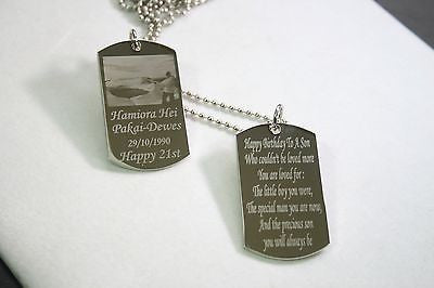 PICTURE  DOG TAG (2) PENDANT NECKLACE FREE ENGRAVE MILITARY STY STAINLESS STEEL - Samstagsandmore