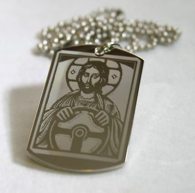 STAINLESS STEEL JESUS TAKE THE WHEEL RELIGIOUS PRAYER DOG TAG NECKLACE