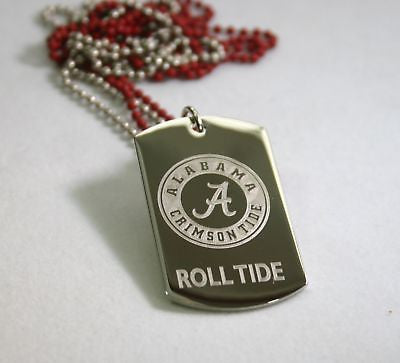 UNIVERSITY OF ALABAMA CUSTOM TAG NECKLACE PENDANT STAINLESS STEEL