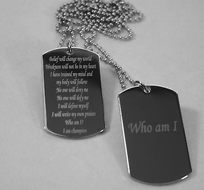 MOTIVATIONAL DOG TAGS MILITARY STYLE CUSTOM NECKLACE SOLID STAINLESS STEEL - Samstagsandmore