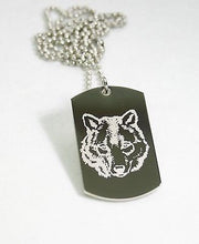 STAINLESS STEEL WOLF IMAGE   DOG TAG NECKLACE PENDANT - Samstagsandmore
