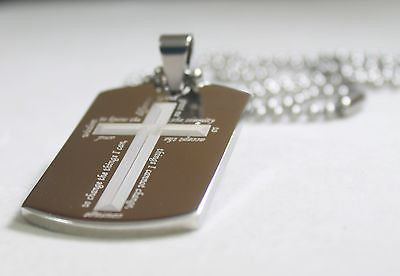 SERENITY PRAYER CROSS SURROUND SOLID STAINLESS STEEL HOPE DOG TAG NECKLACE