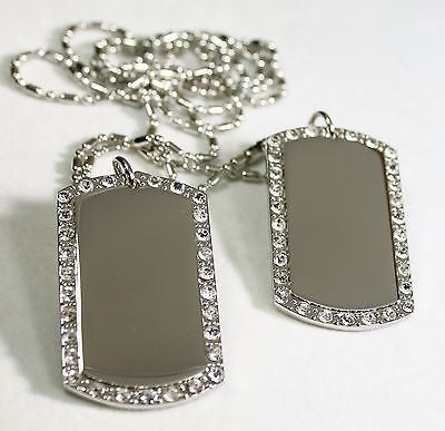 2X SILVER TONE  NECKLACE PENDANT DOG TAG CZ ICED OUT CUSTOM MILITARY STYLE - Samstagsandmore
