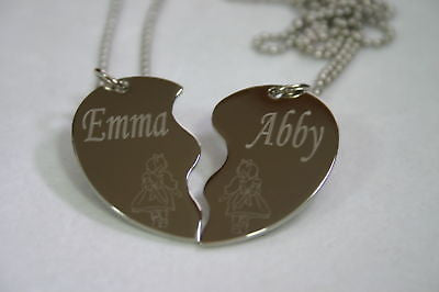 PERSONALIZED SPLIT HEART BFF LITTLE GIRLS  NECKLACE SET STAINLESS STEEL - Samstagsandmore