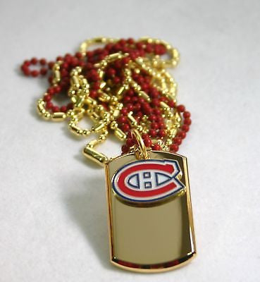 NHL MONTREAL CANADIEN'S STAINLESS IPG GOLD NECKLACE DOGTAG PENDANT ENGRAVE