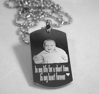 PERSONALIZED PICTURE STAINLESS STEEL DOG TAG AND NECKLACE ENGRAVE YOUR MESSAGE - Samstagsandmore