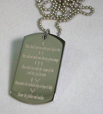 TEN COMMANDMENTS SOLID STAINLESS STEEL  DOG TAG NECKLACE