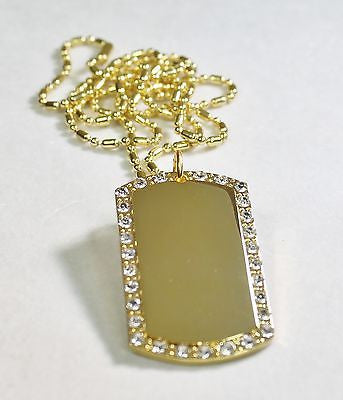 GOLD TONE PLATED CZ BLING, ICED OUT, ICE  CUSTOM DOG TAG NECKLACE