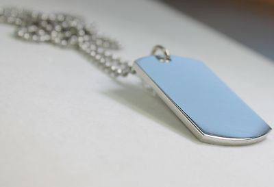 SOLID STAINLESS STEEL HEAVY DUTY POLISHED DOG TAG NECKLACE PENDANT FREE ENGRAVE - Samstagsandmore