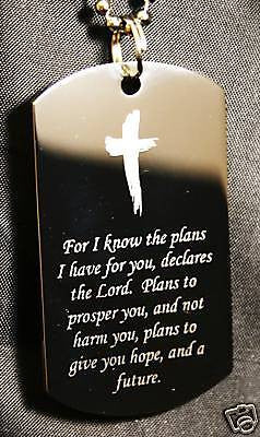 JEREMIAH VERSE PLANS FOR YOU LORD CROSS TAG NECKLACE STAINLESS STEEL - Samstagsandmore