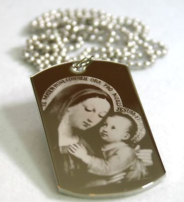 HAIL MARY WITH JESUS PRAYER SPECIAL DOG TAG NECKLACE STAINLESS STEEL