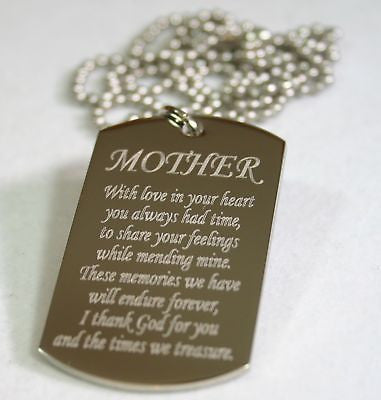MOM MOTHER MESSAGE SPECIAL NECKLACE POEM DOG TAG STAINLESS STEEL