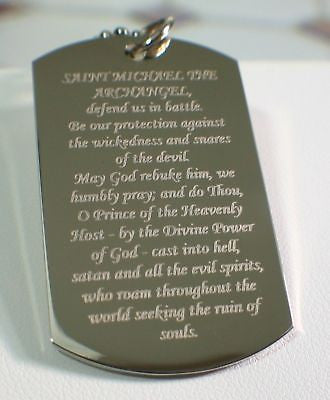PRAYER TO ST. MICHAEL, CROSS 2S DOG TAG NECKLACE STAINLESS STEEL BALL CHAIN