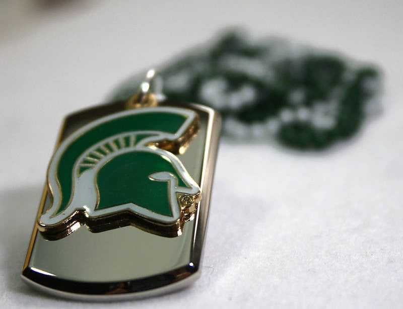 STAINLESS STEEL 3D TAG MICHIGAN STATE SPARTANS COLLEGE  NECKLACE TAG PENDANT - Samstagsandmore