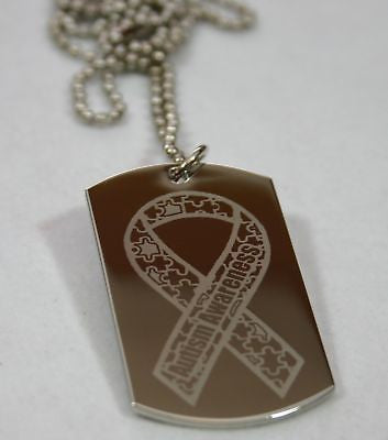 STAINLESS STEEL AUTISM AWARENESS RIBBON DOG TAG NECKLACE