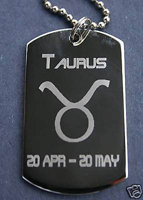 TAURUS ZODIAC SIGN TRAITS DOG TAG NECKLACE PENDANT