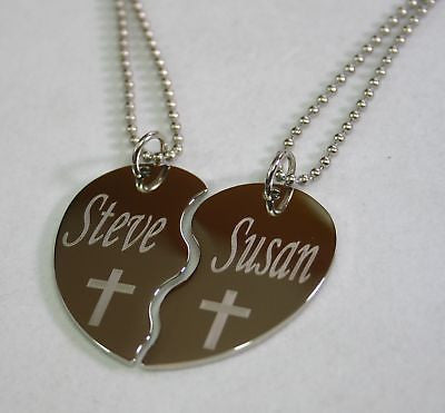 PERSONALIZED SPLIT HEART CROSS  NECKLACE SET STAINLESS STEEL