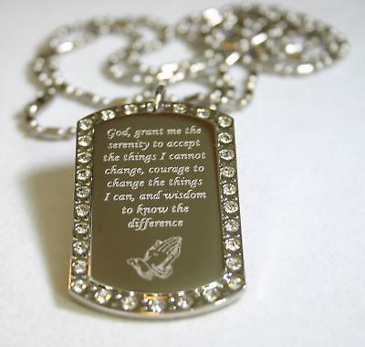 SERENITY PRAYER PEACE HOPE BLING DOG TAG NECKLACE - Samstagsandmore