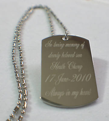 MEMORIAL  DOG TAG NECKLACE CUSTOM PERSONALIZE stainless steel
