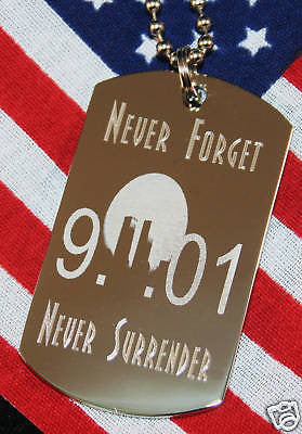 911 9-11 NEVER FORGET STAINLESS STEEL  DOG TAG NECKLACE REMEMBER