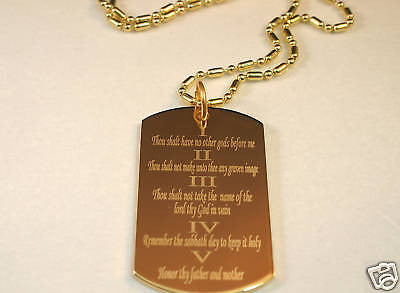THE TEN COMMANDMENTS DOG TAG NECKLACE RELIGIOUS STAINLESS STEEL GOLD IPG