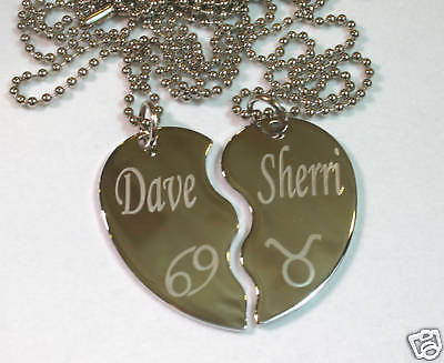 SOLID STAINLESS STEEL PERSONALIZED SPLIT HEART ZODIAC NECKLACE SET