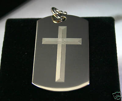 LORD'S PRAYER OUR FATHER AND CROSS 2S DOG TAG NECKLACE STAINLESS STEEL