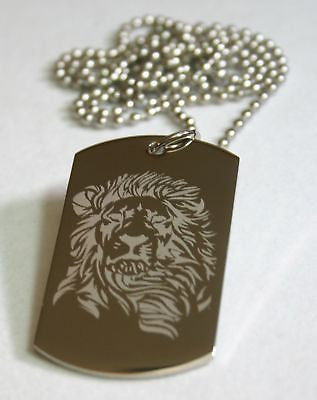 STAINLESS STEEL LION INSPIRATIONAL  DOG TAG NECKLACE