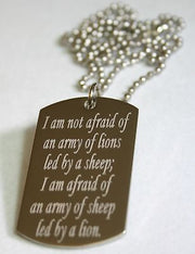 STAINLESS STEEL LION INSPIRATIONAL  DOG TAG NECKLACE - Samstagsandmore
