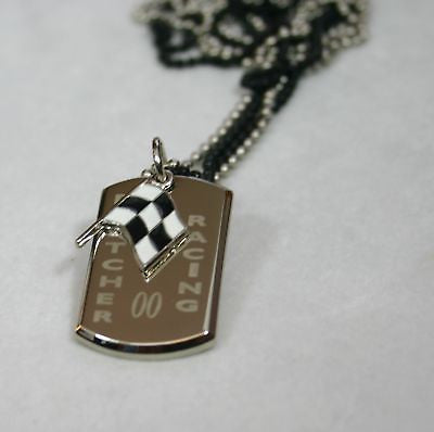 NASCAR RACING FLAG NECKLACE STAINLESS STEEL  DOG TAG PENDANT FREE ENGRAVING