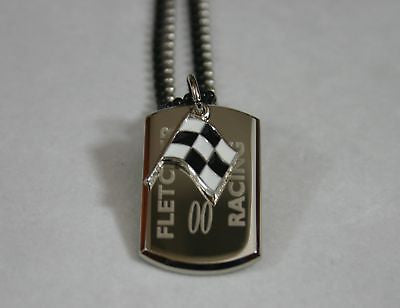 NASCAR RACING FLAG NECKLACE STAINLESS STEEL  DOG TAG PENDANT FREE ENGRAVING - Samstagsandmore