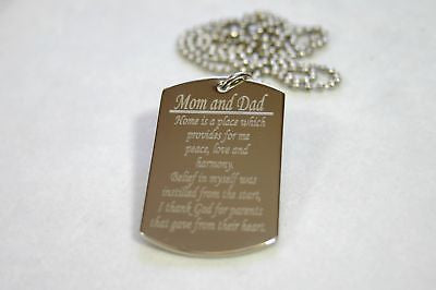 MOM AND DAD SPECIAL MESSAGE NECKLACE POEM DOG TAG STAINLESS STEEL