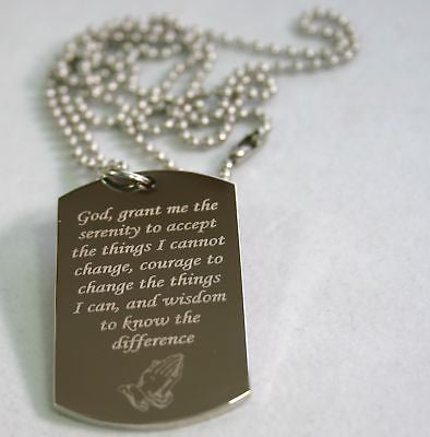 SERENITY PRAYER PEACE HOPE DOG TAG NECKLACE STAINLESS STEEL