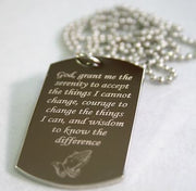 SERENITY PRAYER PEACE HOPE DOG TAG NECKLACE SOLID STAINLESS STEEL - Samstagsandmore