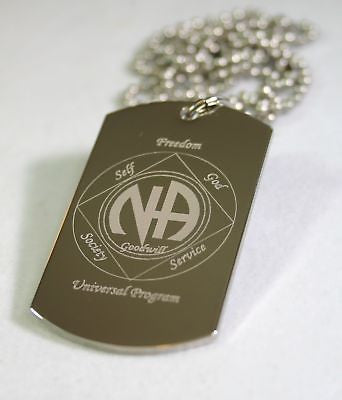 NARCOTICS ANONOMOUS SPECIAL RECOVERY PENDANT STAINLESS STEEL DOG TAG NECKLACE