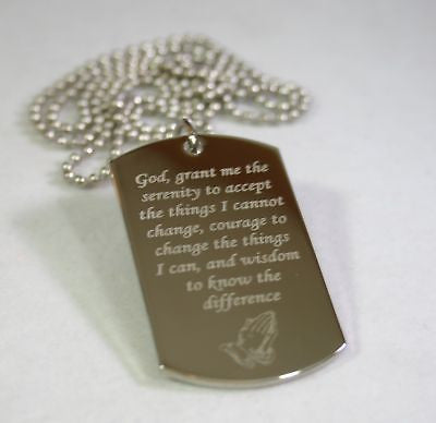 Recovery, awareness dog tag necklace, stainless steel - Samstagsandmore