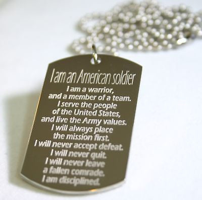 I AM ARMY STRONG HONOR DOG TAG NECKLACE STAINLESS STEEL