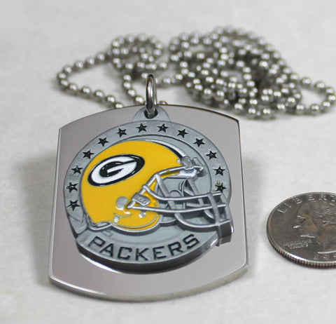 NFL GREEN BAY PACKERS  X LARGE PENDANT/HELMET ON THICK STAINLESS STEEL DOG TAG - Samstagsandmore
