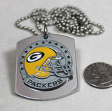 NFL GREEN BAY PACKERS  X LARGE PENDANT/HELMET ON THICK STAINLESS STEEL DOG TAG