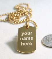 BOSTON BRUINS GOLD IPG STAINLESS STEEL DOG TAG NECKLACE TAG PENDANT ENGRAVE - Samstagsandmore