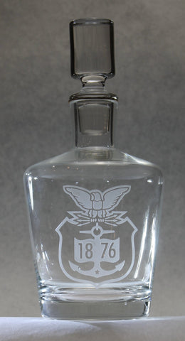 Crystal Whiskey Liquor Wine Decanter round tapered Custom Engraved USCGA graduation commencement