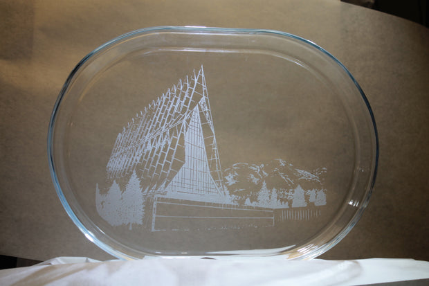 USAFA Chapel Image sand-carved clear glass serving tray platter - Samstagsandmore