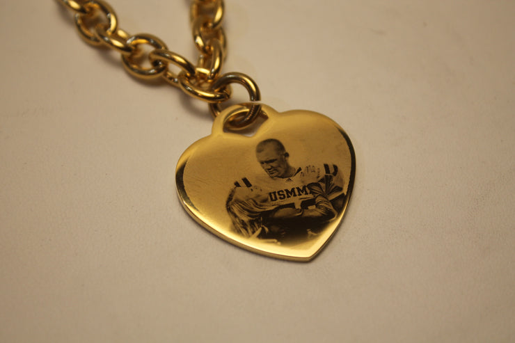 Photo Picture Text CUSTOM ENGRAVED GOLD IPG STAINLESS STEEL HEART NO CHAIN goldtiffphoto1 - Samstagsandmore