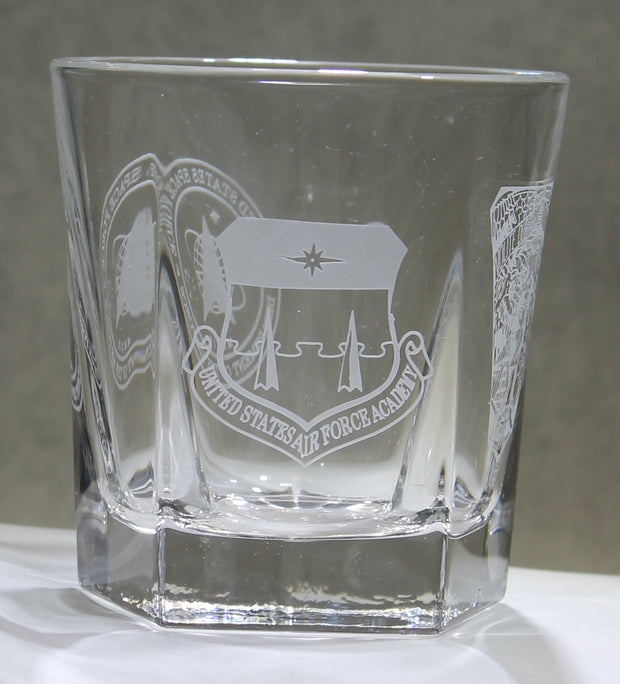 ROCKS GLASS 5-SIDED USNA USAFA USMMA SAND CARVED BOURBON WHISKEY SET OF 8 graduation commencement USCGA USMA - Samstagsandmore